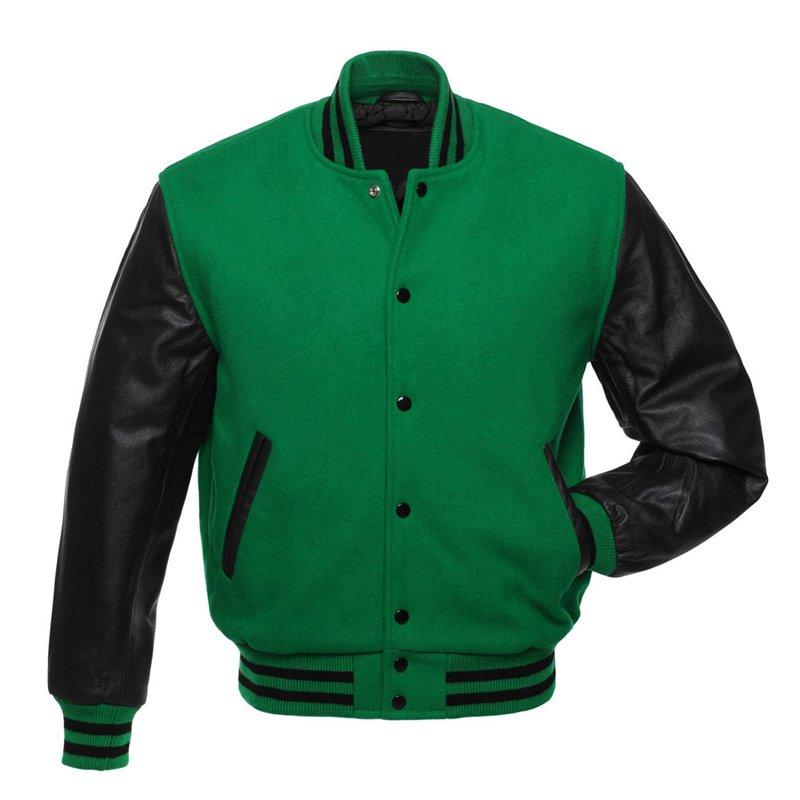 Kelly Green Letterman Varsity Jacket, Grey Wool,Black Real Leather Sleeves