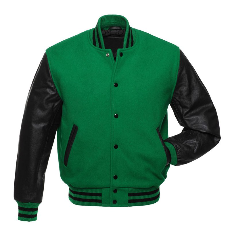 Kelly Green Wool & Black Leather Arms College,Varsity Jacket