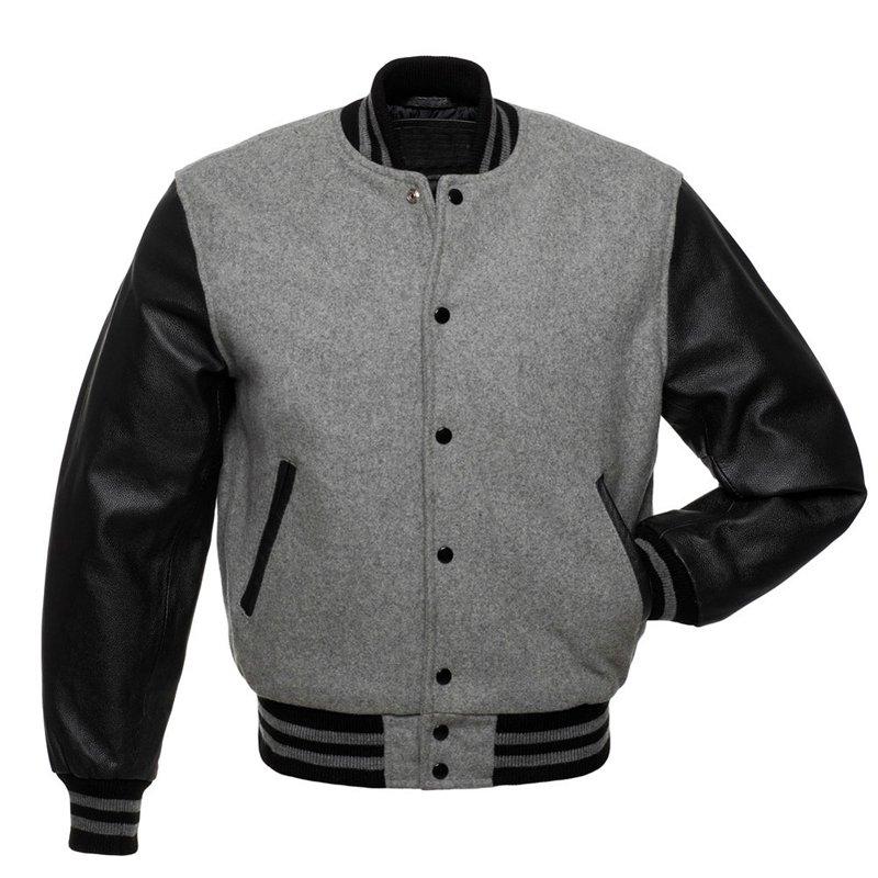 Letterman Varsity Jacket, Grey Wool, Black Real Leather Sleeves