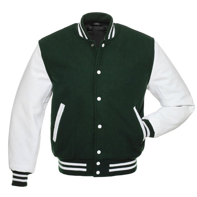 Green Wool Real White Leather Arms, Letterman Varsity Hoodie Jackets