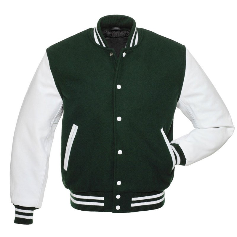 Green Wool Biker Varsity Jacket Classic Motorcycle Motorbike Chopper Bobber Jacket