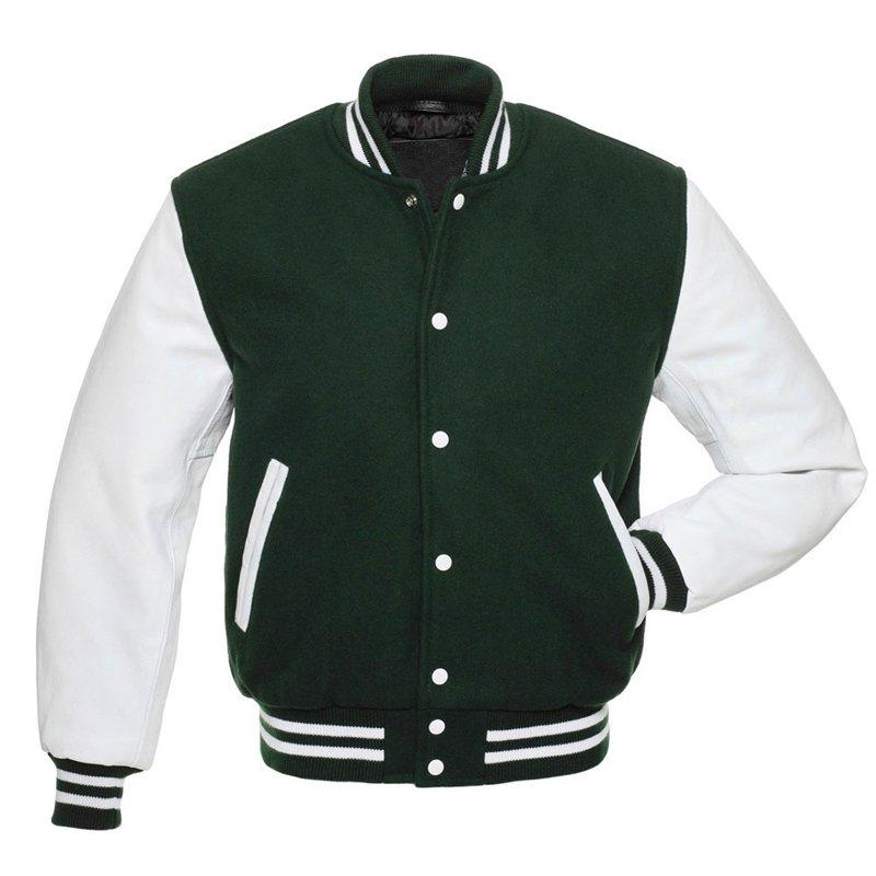 Letterman Varsity Jacket, Green Wool,White Real Leather Sleeves