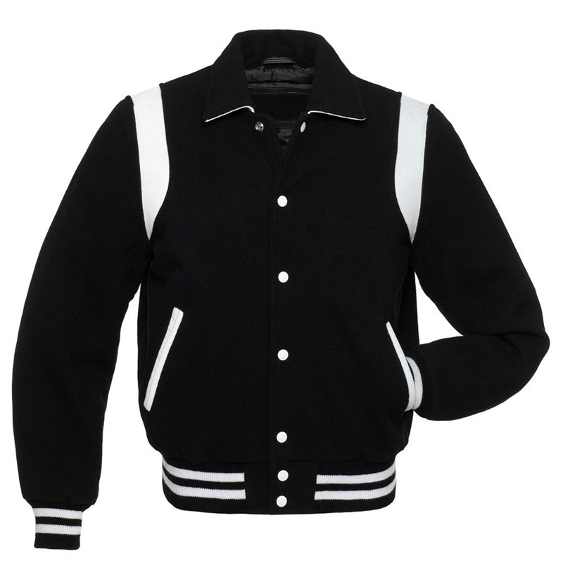 Black Wool Real Body & Black Wool Letterman Varsity Hoodie Jackets 2XS~4XL