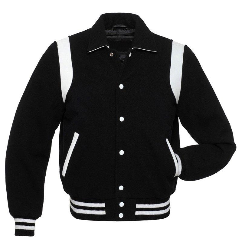 Black Wool Varsity Letterman Jacket with White Stripes
