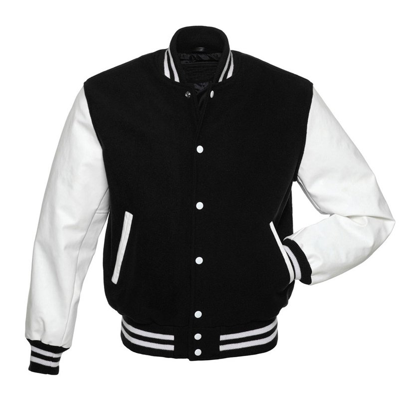 Black Wool Varsity Letterman Jacket with White Stripes
