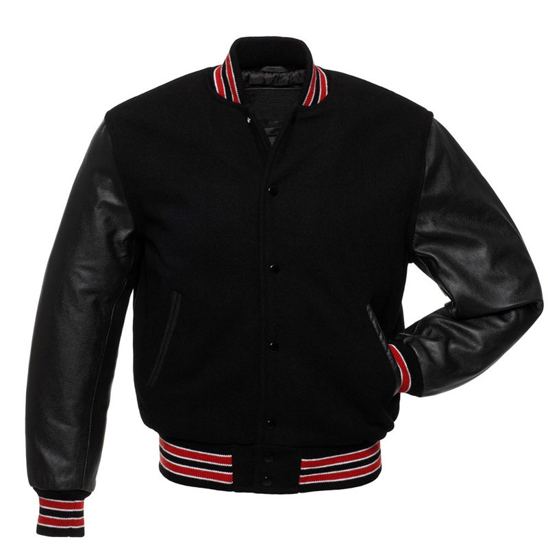 Letterman Varsity Jacket, Black Wool, Black Real Leather Sleeves