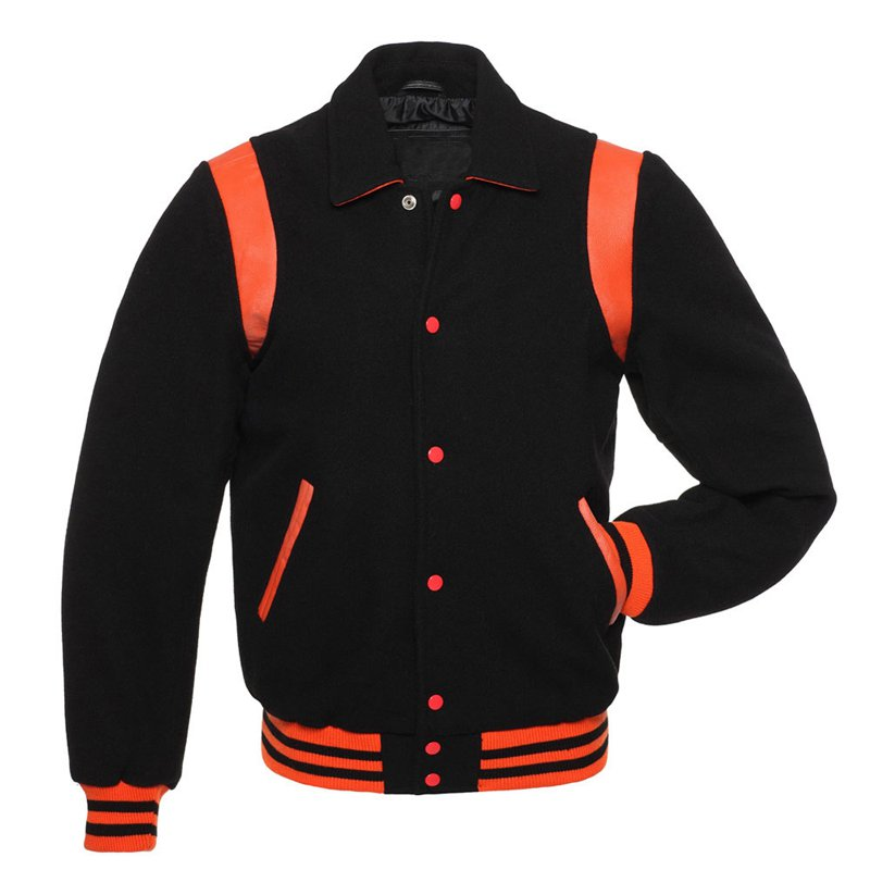 Black Wool Real Leather Arms, Orange Letterman Varsity Hoodie Jacket