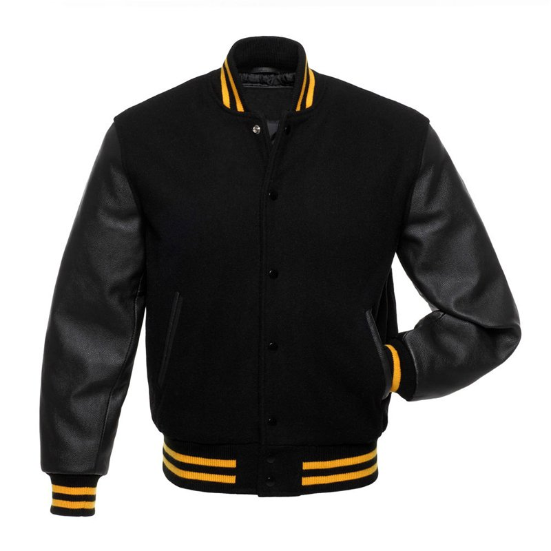 Solid Black Wool Real Leather Arms, Gold Letterman Varsity Hoodie Jackets 2XS~4XL