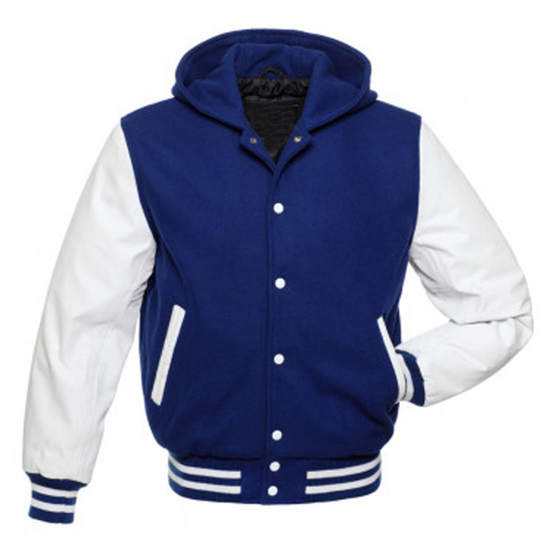 Royal Blue and White letter man varsity jacket / hoodie in pure wool