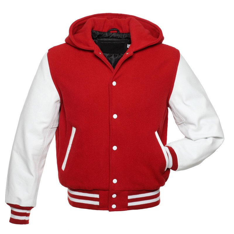 Red And White, Wool With Leather Arms College, Varsity Jacket