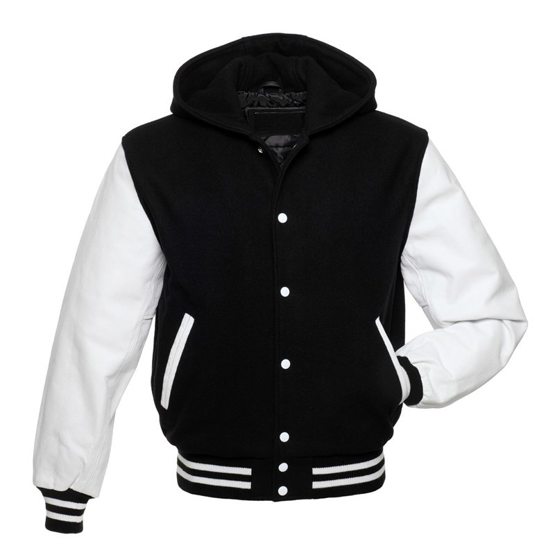 Black Wool With White Real Leather Arms, Letterman Varsity Hoodie Jackets