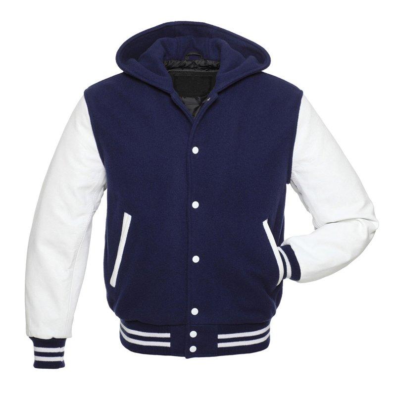 NAVY Varsity Wool Letterman Jacket Navy with White Real Leather Sleeves Hoodie
