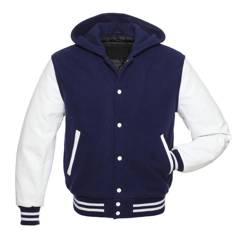 HOODIE Navy blue VARSITY LETTERMAN WOOL&REAL LEATHER JACKET
