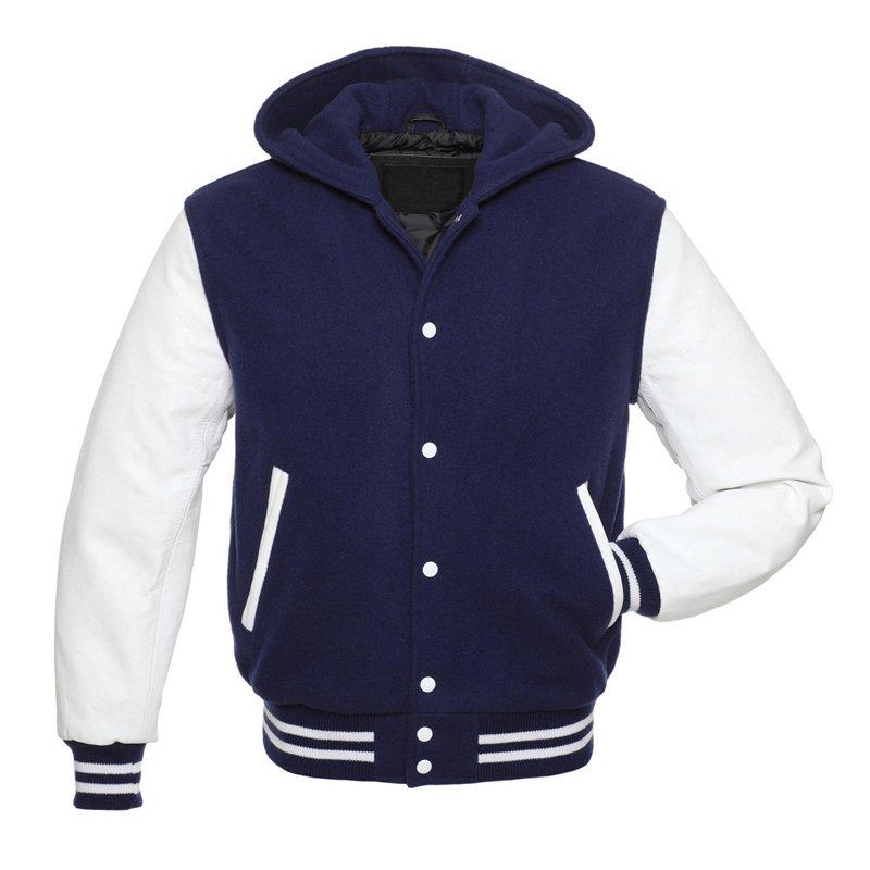 Varsity Hoodie in Wool & Leather Superb Slim-fit Letterman Fashion Jacket