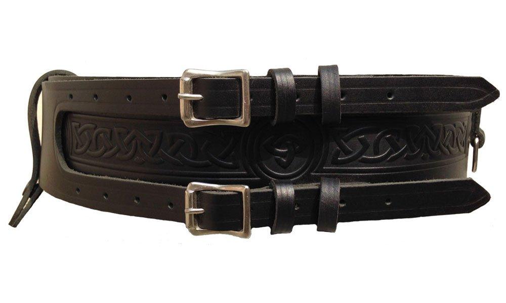 Kilt Belt Double Buckle Leather kilt Belt 32 Size D Ring Belt for Tartan and Utility kilts