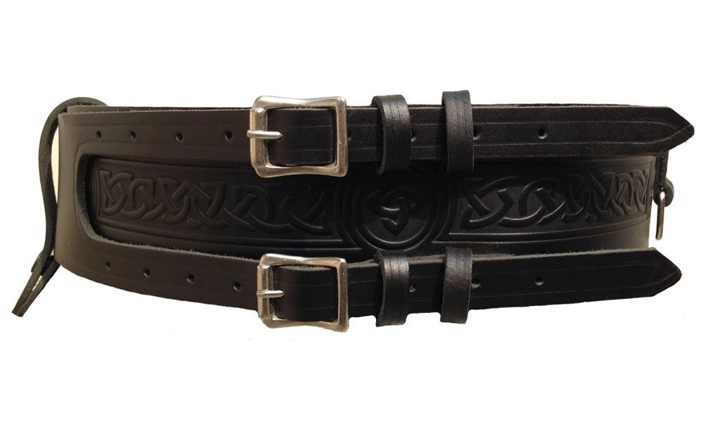 Kilt Belt Double Buckle Leather kilt Belt 34 Size D Ring Belt for Tartan and Utility kilts
