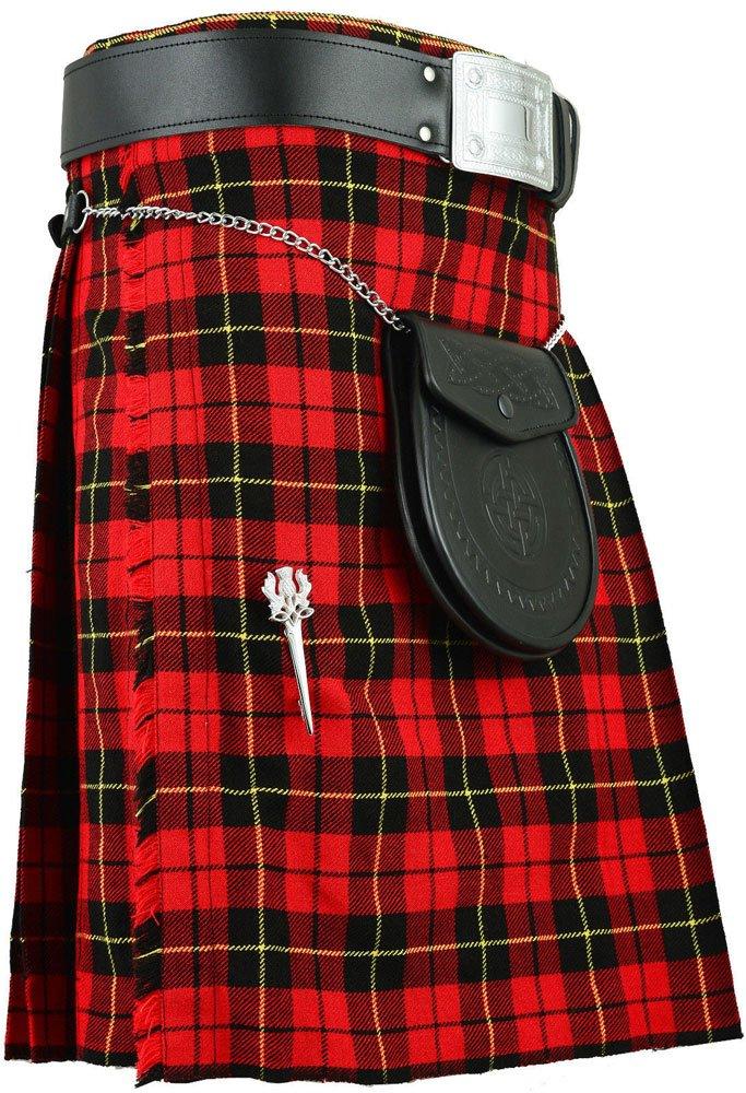 Traditional Wallace Tartan 5 Yard 13oz. Scottish Kilt 40 Waist Size Dress Skirt Tartan Kilts
