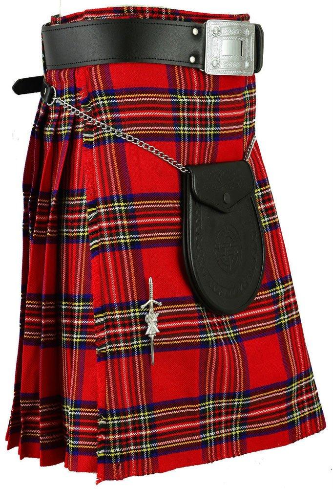 Traditional Royal Stewart Tartan 5 Yard 13oz. Scottish Kilt 36 Waist Size Dress Skirt Tartan Kilts
