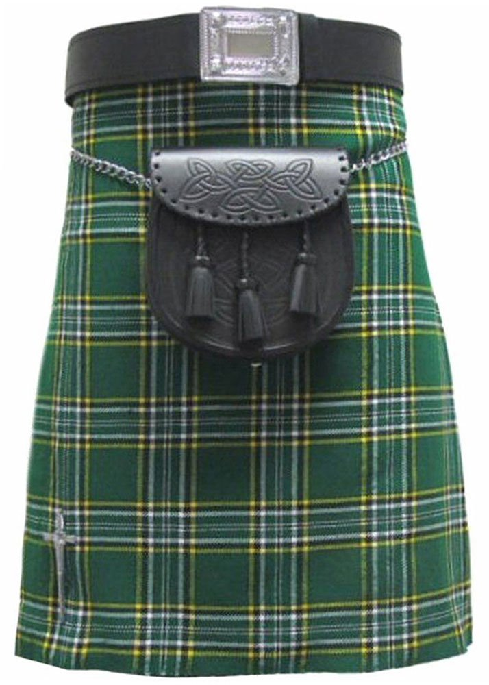 Traditional Irish National Tartan 5 Yard 13oz. Scottish Kilt 30 Waist Size Dress Skirt Tartan Kilts