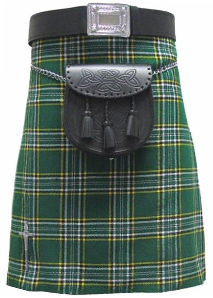 Traditional Irish National Tartan 5 Yard 13oz. Scottish Kilt 32 Waist Size Dress Skirt Tartan Kilts