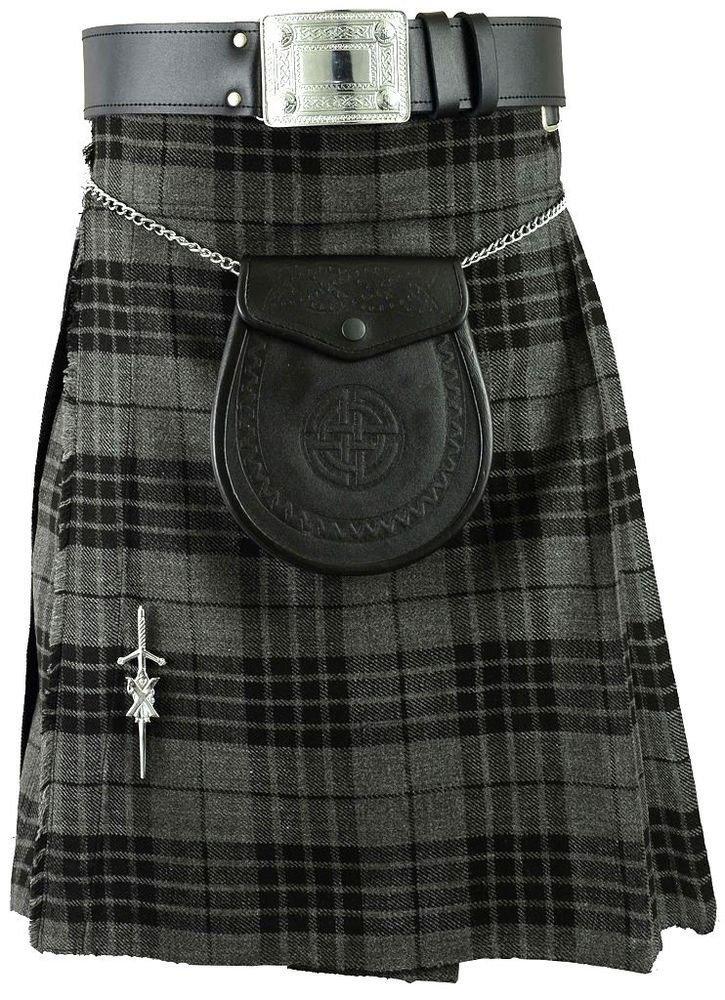 Traditional Gray Watch Tartan 5 Yard 13oz. Scottish Kilt 38 Waist Size Dress Skirt Tartan Kilts