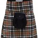 Traditional Camel Thompson Tartan 5 Yard Scottish Kilt 40 Waist Size Dress Skirt Tartan Kilts