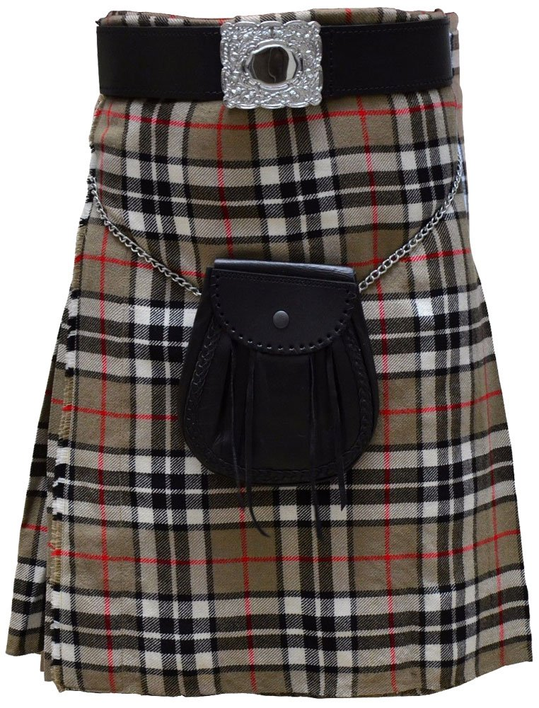 Traditional Camel Thompson Tartan 5 Yard Scottish Kilt 42 Waist Size Dress Skirt Tartan Kilts