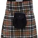 Traditional Camel Thompson Tartan 5 Yard Scottish Kilt 58 Waist Size Dress Skirt Tartan Kilts