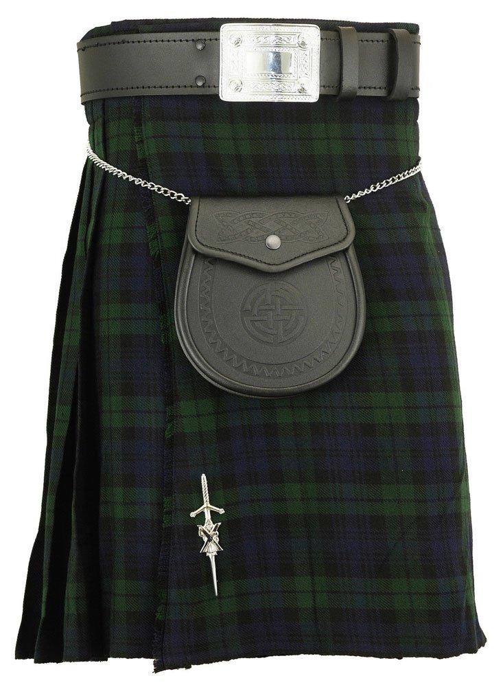 Traditional Black Watch Tartan 5 Yard Scottish Kilt In 13oz. 28 Waist Size Dress Skirt Tartan Kilts