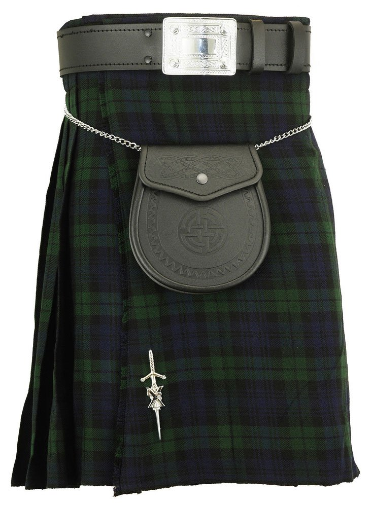 Traditional Black Watch Tartan 5 Yard Scottish Kilt In 13oz. 30 Waist Size Dress Skirt Tartan Kilts