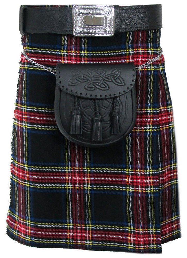 Traditional Black Stewart 13oz. Tartan 5 Yard Scottish Kilt 28 Waist Size Dress Skirt Tartan Kilts