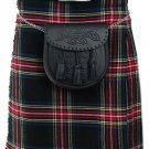Traditional Black Stewart 13oz. Tartan 5 Yard Scottish Kilt 28 Waist Size Dress Skirt Tartan Kilts