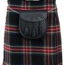 Traditional Black Stewart 13oz. Tartan 5 Yard Scottish Kilt 44 Waist Size Dress Skirt Tartan Kilts