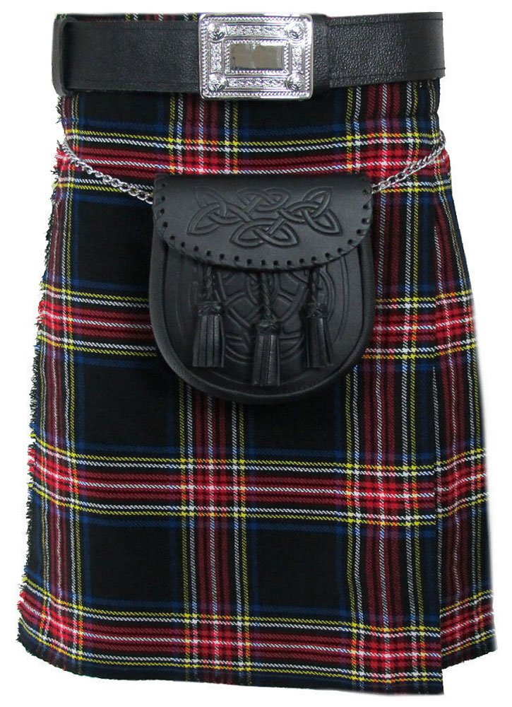 Traditional Black Stewart 13oz. Tartan 5 Yard Scottish Kilt 48 Waist Size Dress Skirt Tartan Kilts