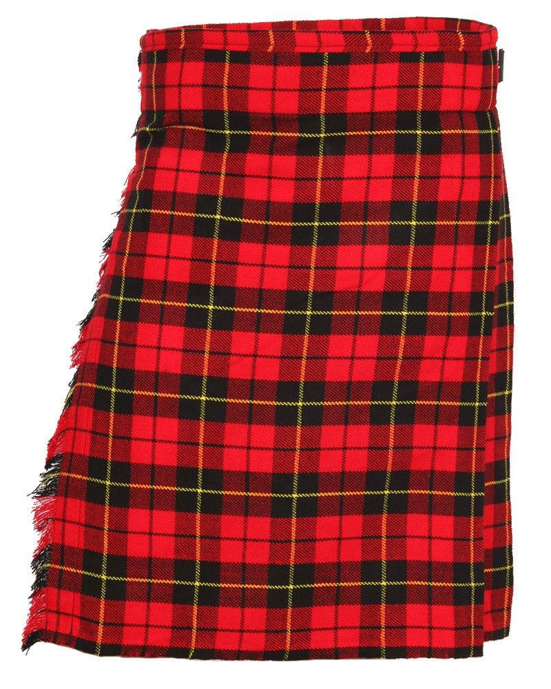 Scottish Wallace Tartan 8 Yard Kilt For Men 36 Waist Size Traditional Tartan Kilt Skirt