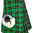 Scottish Wallace Hunting Tartan 8 Yard Kilt For Men 54 Waist Size Traditional Tartan Kilt Skirt