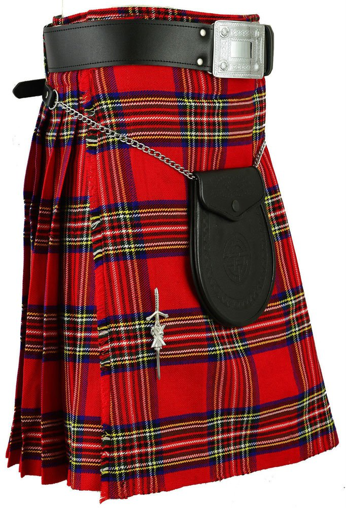 Scottish Royal Stewart Tartan 8 Yard Kilt For Men 36 Waist Size Traditional Tartan Kilt Skirt