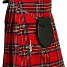 Scottish Royal Stewart Tartan 8 Yard Kilt For Men 42 Waist Size Traditional Tartan Kilt Skirt