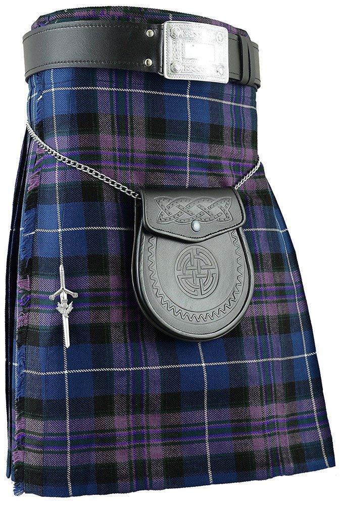 Scottish Pride Of Scotland Tartan 8 Yard Kilt For Men 34 Waist Size Traditional Tartan Kilt