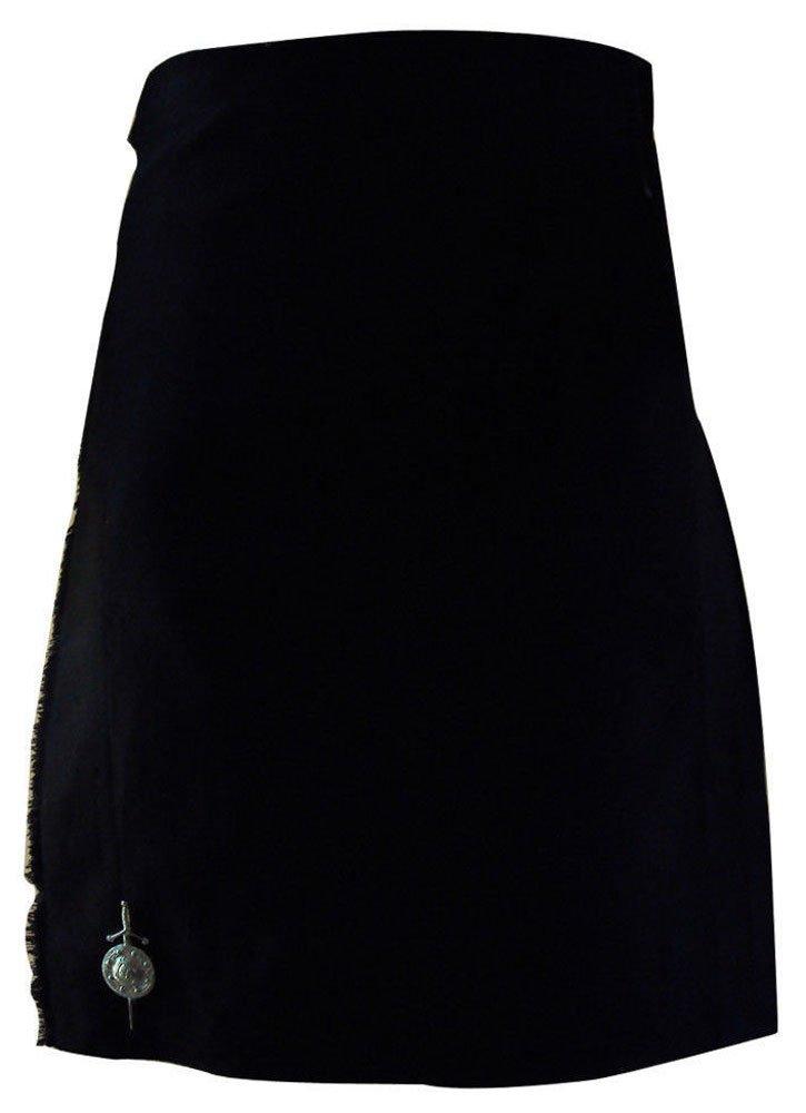 Scottish Plain Black Tartan 8 Yard Kilt For Men 32 Waist Size Traditional Tartan Kilt