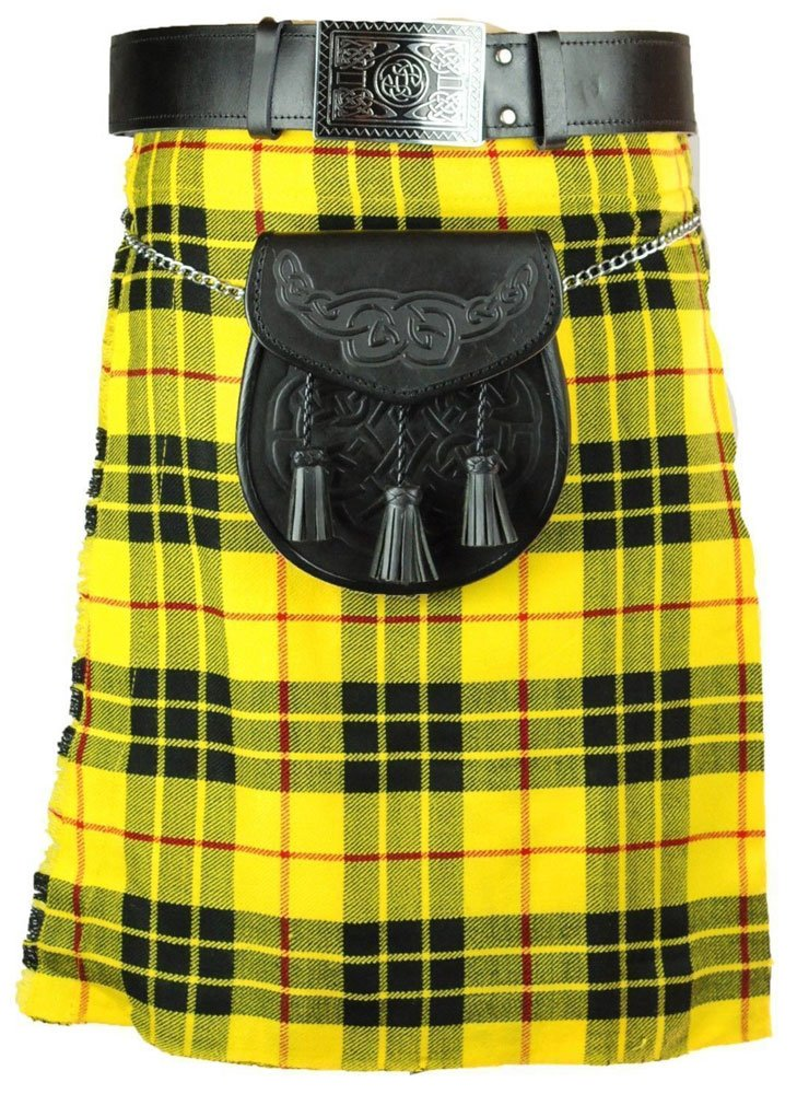 Scottish McLeod Of Lewis 8 Yard Tartan Kilt For Men 30 Waist Size Traditional Tartan Kilt