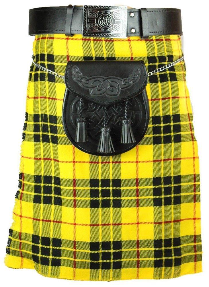 Scottish McLeod Of Lewis 8 Yard Tartan Kilt For Men 32 Waist Size Traditional Tartan Kilt