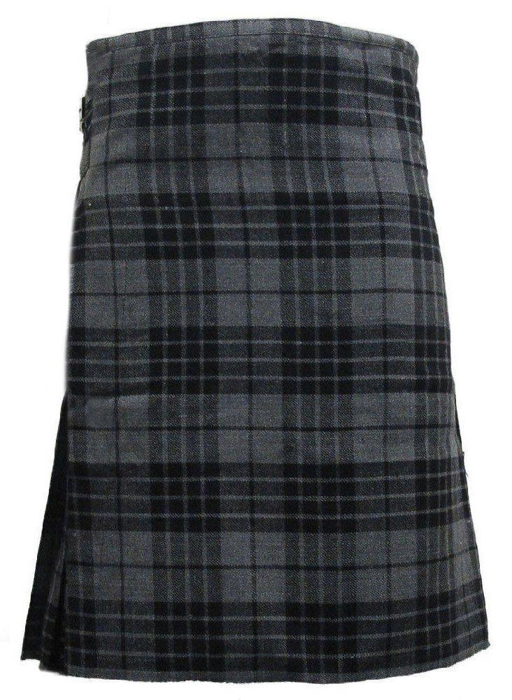 Scottish Grey Watch 8 Yard Kilt For Men 40 Waist Size Traditional Tartan Kilt Skirt