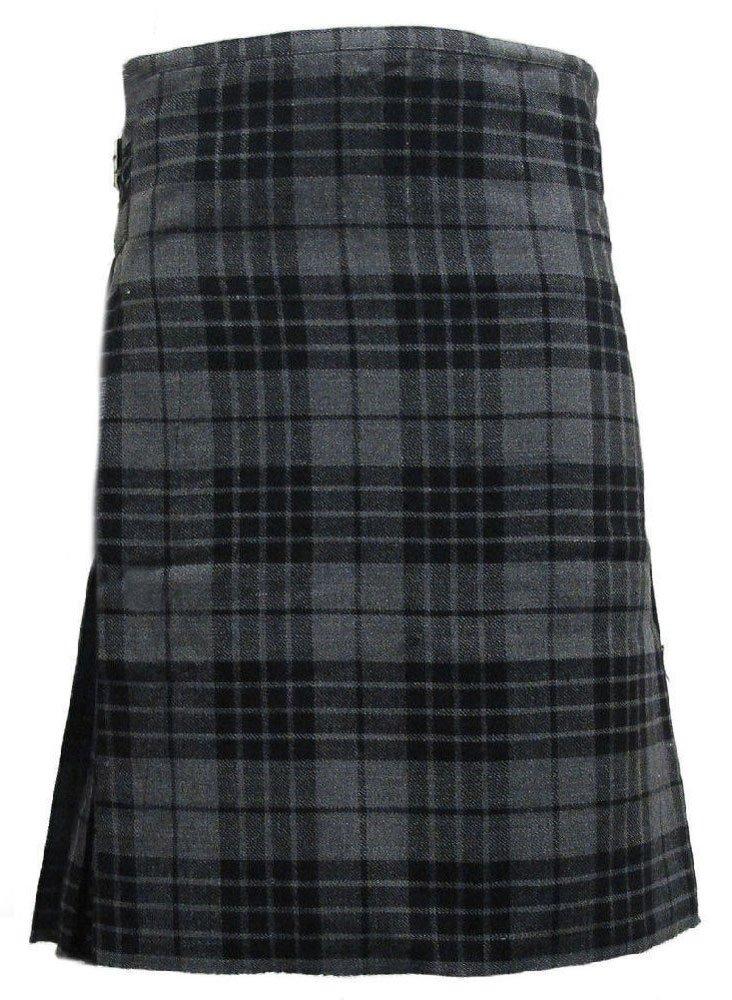 Scottish Grey Watch 8 Yard Kilt For Men 46 Waist Size Traditional Tartan Kilt Skirt