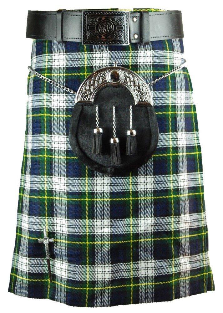 Scottish Dress Gordon 8 Yard Kilt For Men 46 Waist Size Traditional Tartan Kilt Skirt