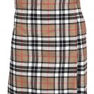Scottish Camel Thompson Tartan 8 Yard Kilt For Men 30 Waist Size Traditional Tartan Kilt Skirt