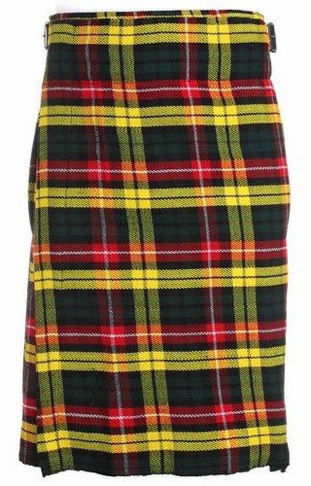 Scottish Buchanan Tartan 8 Yard Kilt For Men 34 Waist Size Traditional Tartan Kilt Skirts