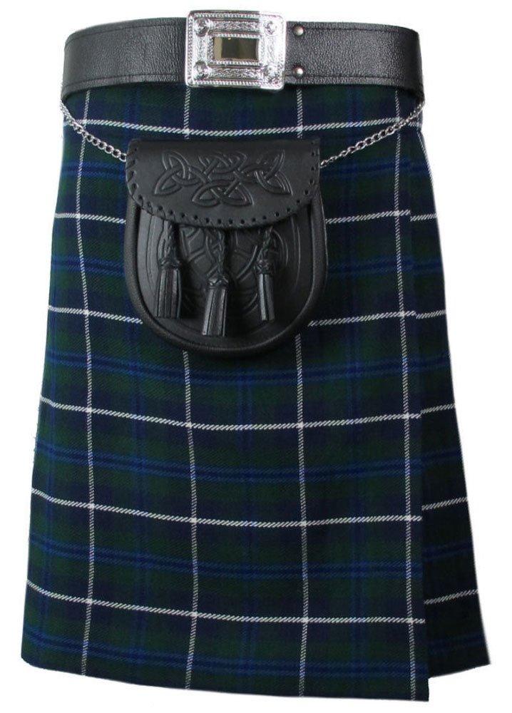 Scottish Blue Douglas 8 Yard Tartan Kilt For Men 28 Waist Size Traditional Tartan Kilt Skirts
