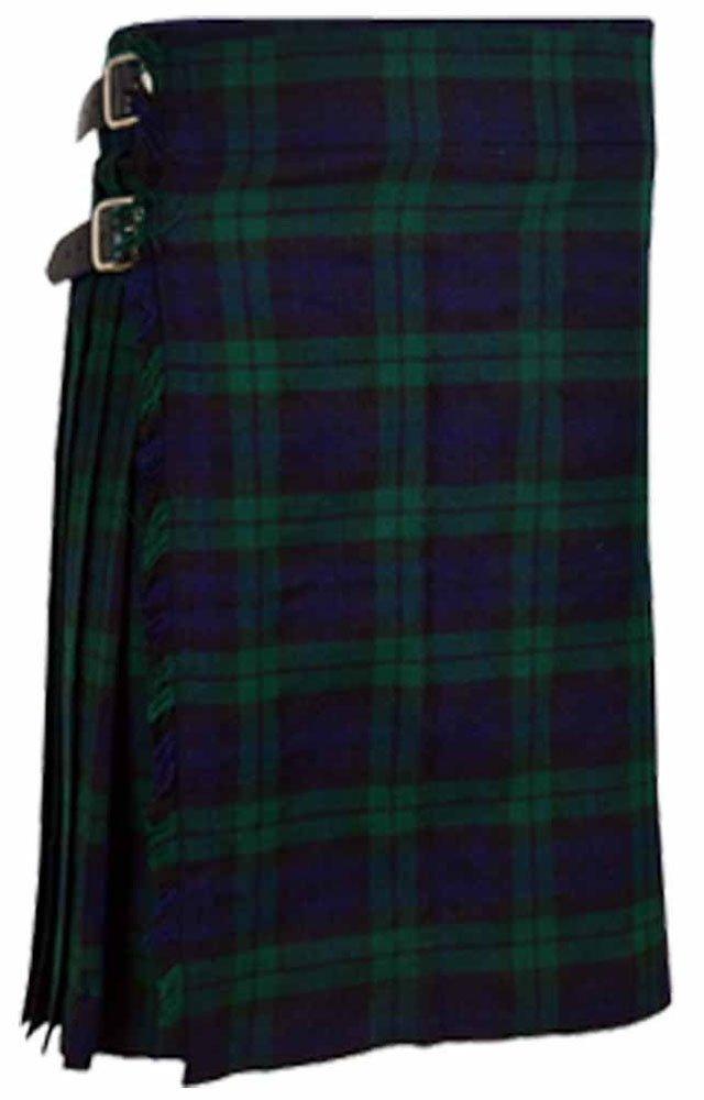 Scottish Black Watch 8 Yard Kilt For Men 26 Waist Size Traditional Tartan Kilt