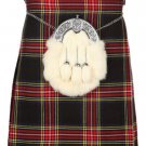 Scottish Black Stewart 8 Yard Kilt For Men 28 Waist Size Traditional Tartan Kilt Skirts